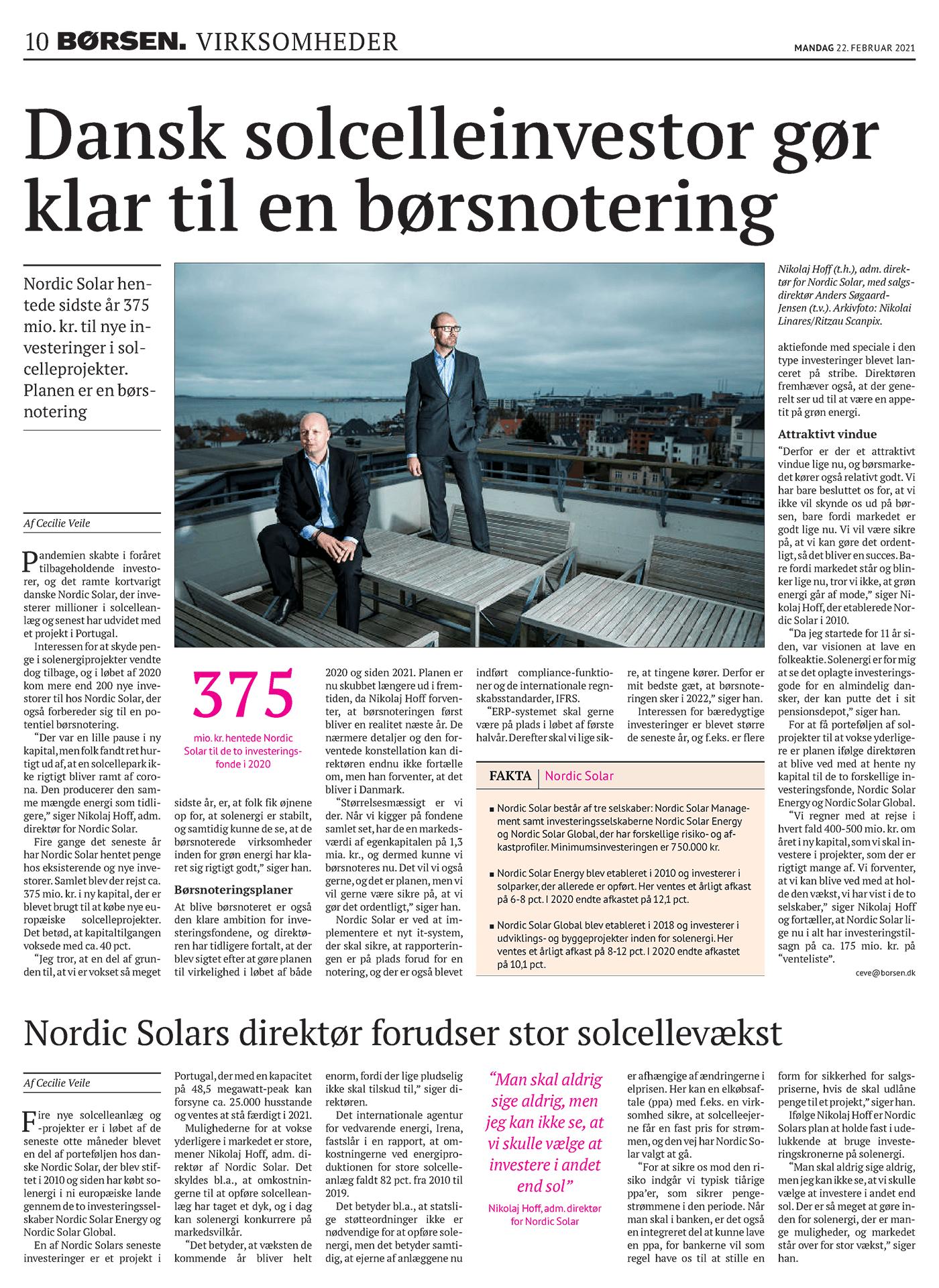 Dansk solcelleinvestor gør klar til en børsnotering